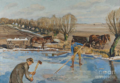 Axes Painting - Farmhands Fetching Ice by Fritz Syberg