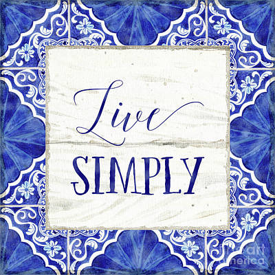 Painting - Farmhouse Blue And White Tile 8 - Live Simply by Audrey Jeanne Roberts