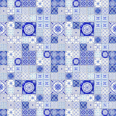 Painting - Farmhouse Blue And White Tile Pattern 1 - Patchwork Vintage Tile by Audrey Jeanne Roberts