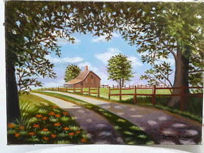 Farmhouse Framed By Trees Art Print