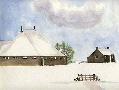 Painting - Farmhouse In The Snow by Annemeet Hasidi- van der Leij