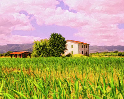 Tuscan Sunset Painting - Farmhouse In Tuscany by Dominic Piperata