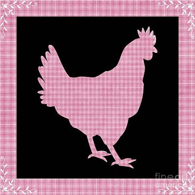 Digital Art - Farmhouse Kitchen Gingham Series Chicken 2 by Rose Santuci-Sofranko