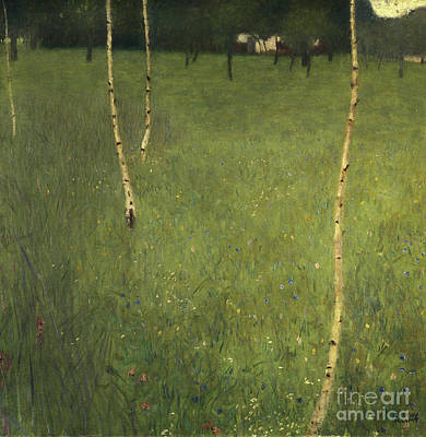 Meadow Painting - Farmhouse With Birch Trees by Gustav Klimt