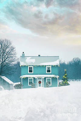 Photograph - Farmhouse With Holiday Lights In Winter by Sandra Cunningham