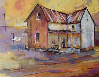 Laundry Painting - Farmhouse With Laundry by Peggy Wilson