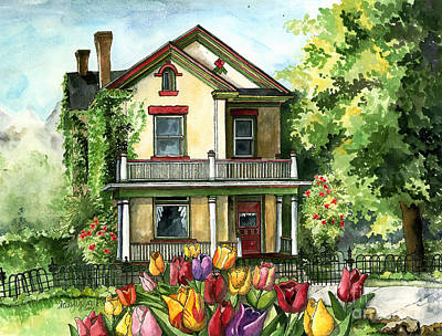 Verandah Painting - Farmhouse With Spring Tulips by Shelley Wallace Ylst