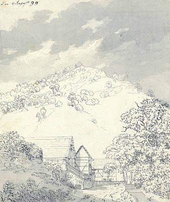 David Drawing - Farmhouses By A Hillside by Caspar David Friedrich