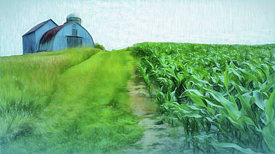 Digital Art - Farming Corn by Leslie Montgomery