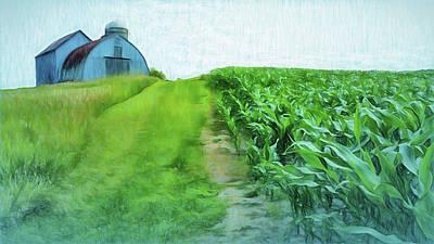 Digital Art - Farming Corn by Leslie Montgomery