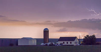 Stormy Photograph - Farming Country Lightning Storm Watching Panorama by James BO  Insogna