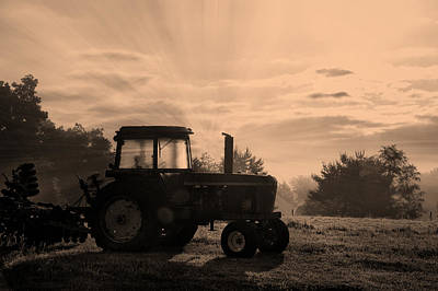 Machine Quilt Photograph - Farming Good Morning John Deere Sepia by Thomas Woolworth