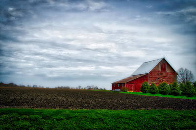 Shed Mixed Media - Farming Red Barn On A Quite Spring Day by Thomas Woolworth