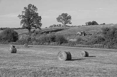 Photograph - Hay Bale Season - Bw by Karol Livote