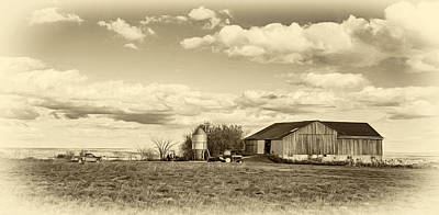 Agriculture Digital Art - Farming With A View - Sepia by Steve Harrington
