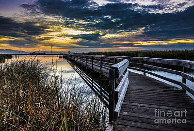 Nature Center Pond Photograph - Farmington Bay Sunset - Great Salt Lake by Gary Whitton