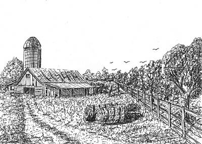 Drawing - Farmland by Barry Jones