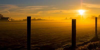 Target Threshold Nature - Farmland Sunrise In Orange by Richard Balison