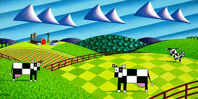 Abstract Windmill Painting - Farmland With Hills And Cows by Bruce Bodden