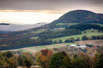 Photograph - Farms Under The Morning Fog by Jeff Folger