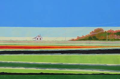 Cottage Painting - Farmscape And Field 3 by Karen Williams-Brusubardis