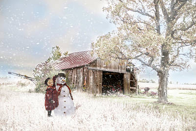 Photograph - Farmstyle Snowman by Mary Timman
