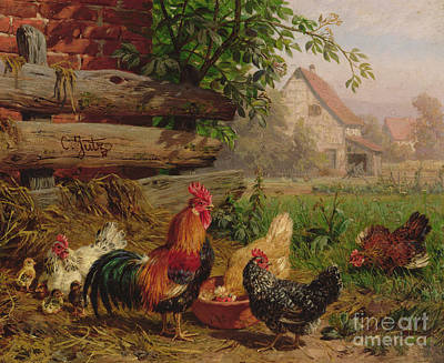 Feeding Young Painting - Farmyard Chickens by Carl Jutz