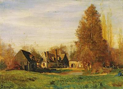 Ville Painting - Farmyard by Francois Louis Francais