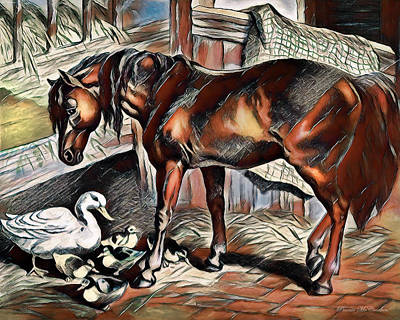 Digital Art - Farmyard Friends by Pennie McCracken