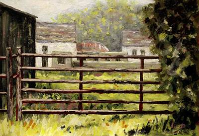 Shadows Painting - Farmyard Gate by John  Nolan
