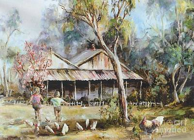 Painting - Farmyard Grampians by Ryn Shell