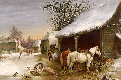 Farmyard In Winter  Art Print by Henry Woollett