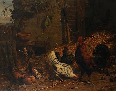 Rooster And Hen Painting - Farmyard Scene With Chickens And A Rooster by DuBois