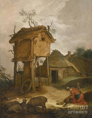 Dovecote Painting - Farmyard With Dovecote by Celestial Images