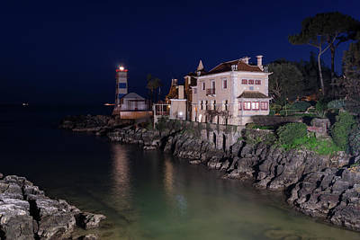 Photograph - Farol De Santa Marta - Night Magic In Cascais Portugal by Georgia Mizuleva