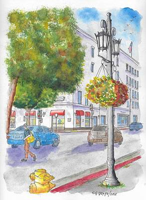 Farola With Flowers In Wilshire Blvd., Beverly Hills, California Art Print by Carlos G Groppa