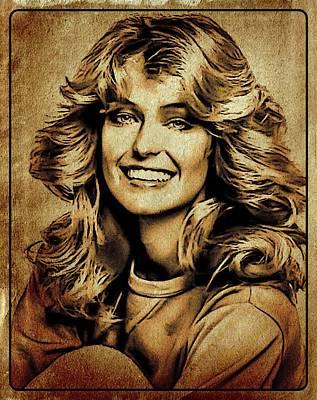 John Wayne Digital Art - Farrah Fawcett Hollywood Actress by Esoterica Art Agency