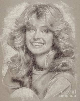 Star Trek Drawing - Farrah Fawcett Hollywood Actress by Frank Falcon