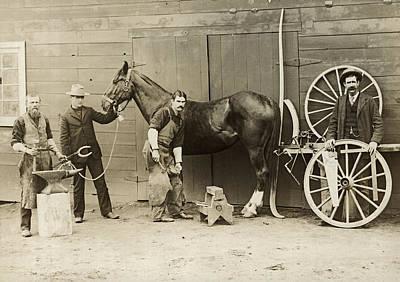 Farrier Shoeing A Horse Art Print