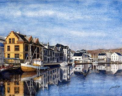 Farsund Painting - Farsund Dock Scene 2 by Janet King