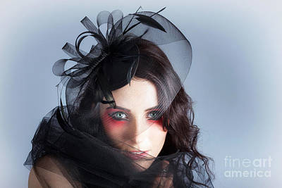 Fascinating Makeup Woman In High Fashion Hat  Art Print by Jorgo Photography - Wall Art Gallery