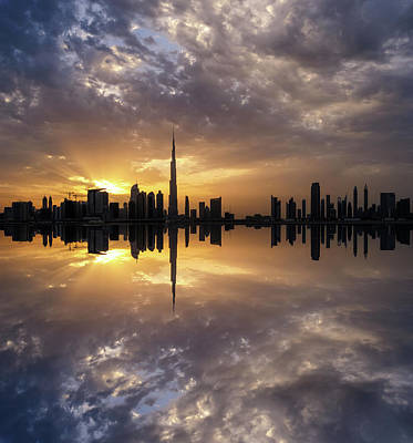 Fascinating Reflection In Business Bay District During Dramatic Sunset. Dubai, United Arab Emirates. Art Print