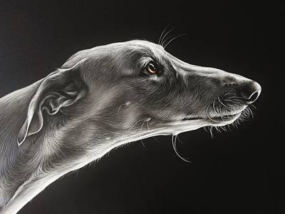 Greyhounds Mixed Media - Fascination - Detail by Elena Kolotusha