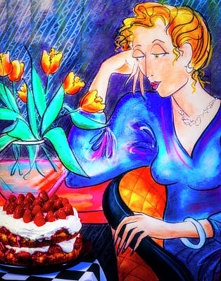 Dreamy Food Photograph - Fashion Drawing And Strawberry Cake by Garry Gay