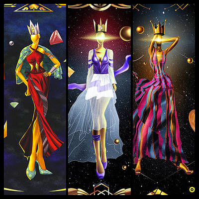 Painting - Fashion Goddess Triptych No.1 by Kenal Louis