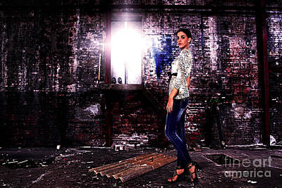 Fashion Model In Jeans  Art Print by Milan Karadzic