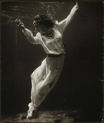 Fashion Model Underwater In Dolphin Art Print