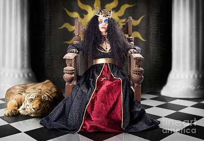 Fashion Queen In Crown Sitting In Jester Court Print by Jorgo Photography - Wall Art Gallery