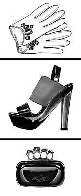 High Heels Art Drawing - Fashion Triptych by Chad Glass