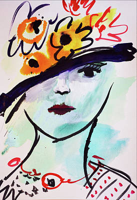 Fashion, Vintage Hat With Flowers Art Print